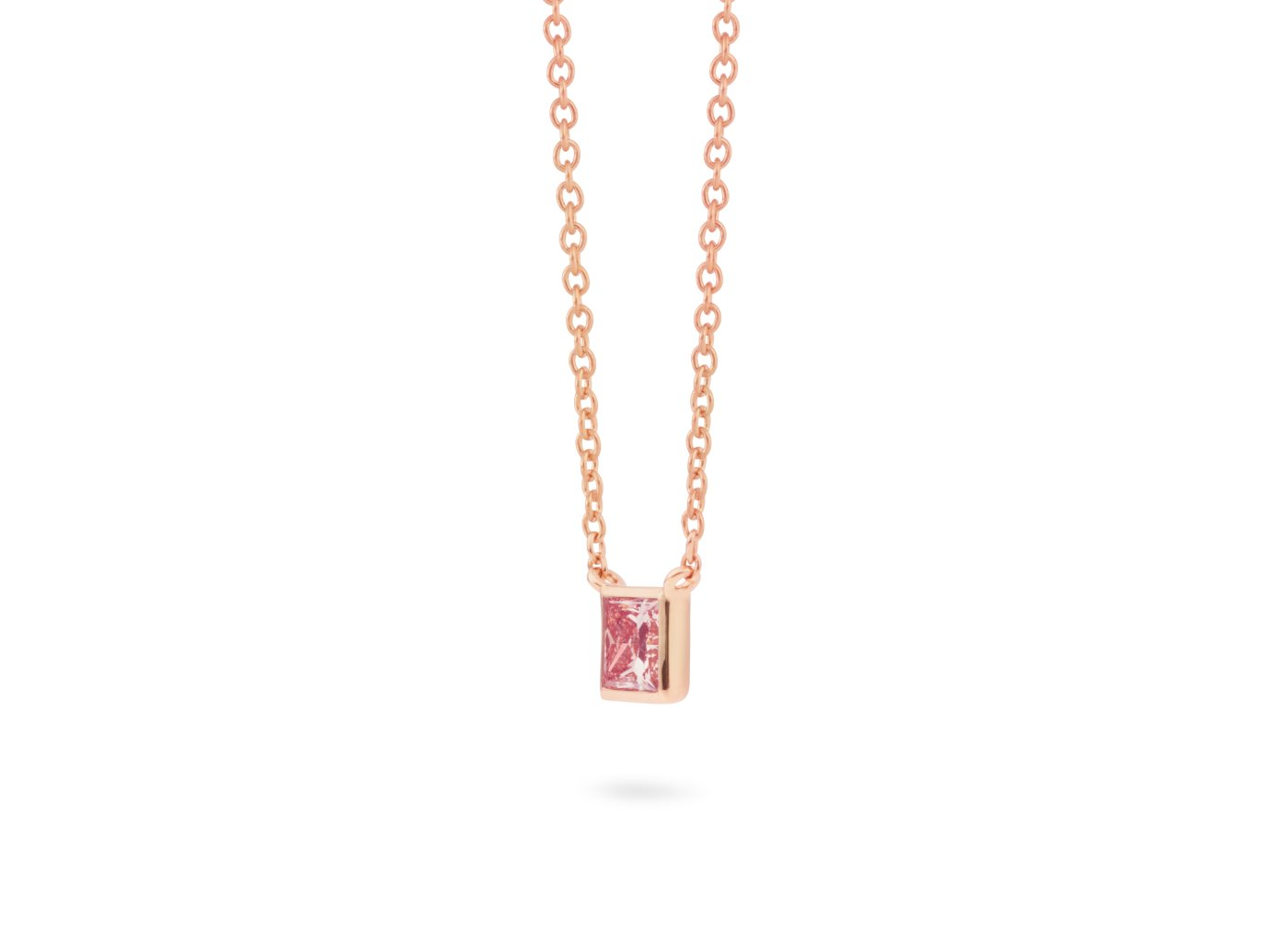 Side view of Princess Bezel 1/2 carat pendant with pink diamond