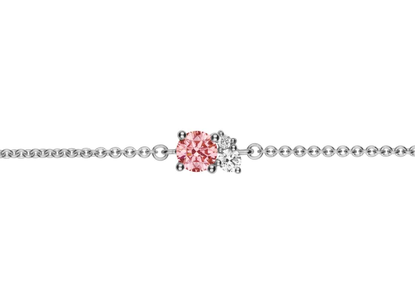 Front view of Cluster 1/2 carat bracelet with pink and white diamonds