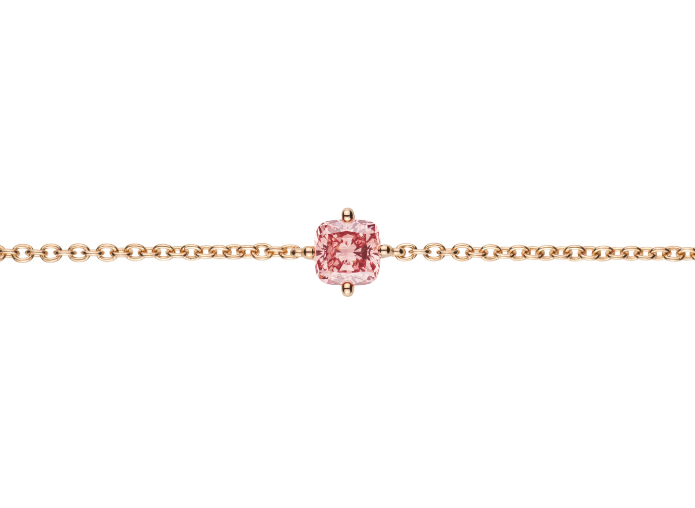 Front view of Cushion 5/8 carat bracelet with a pink diamond