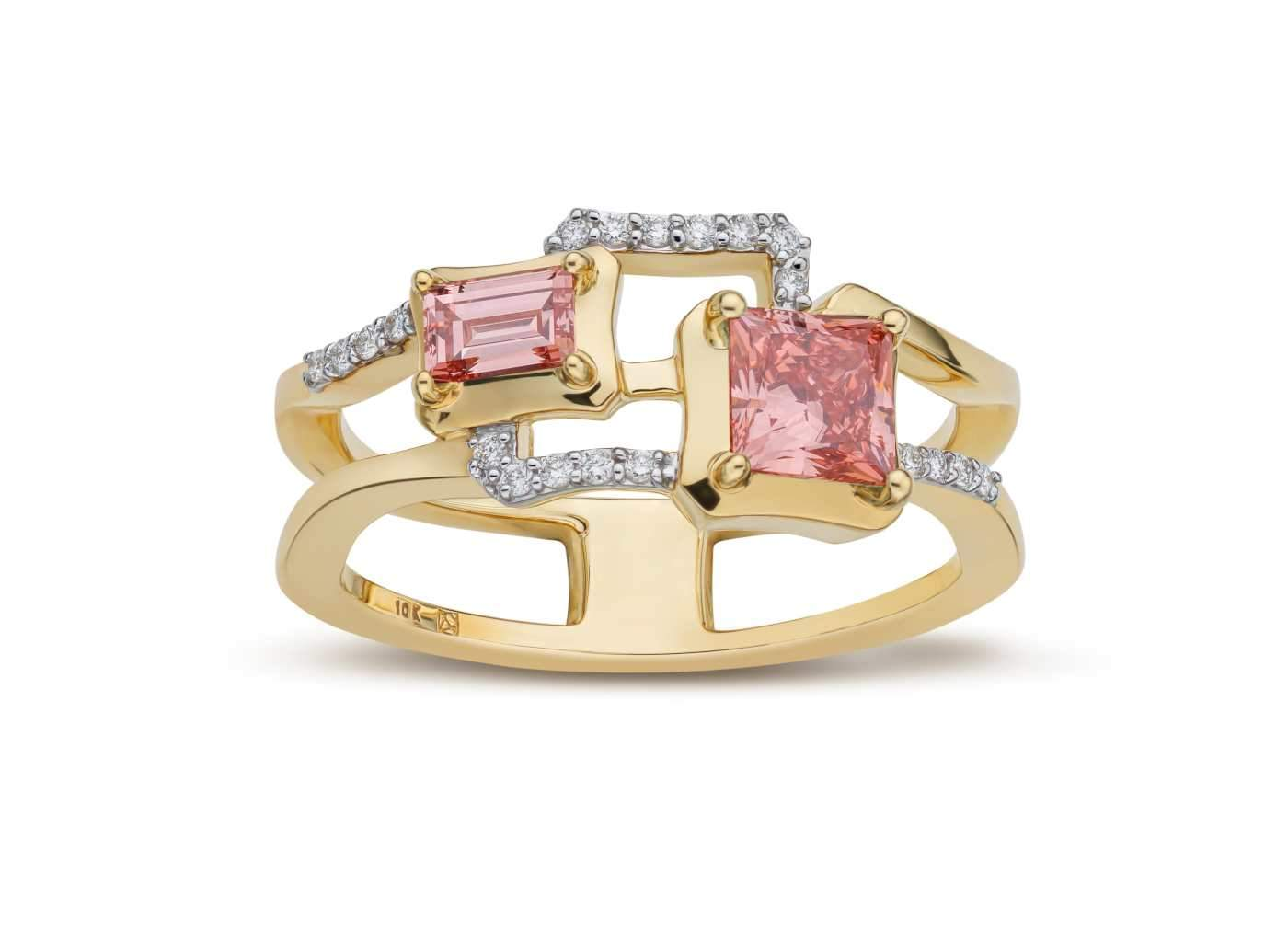 Front view of 2 Stone Frame work Ring with pink and white diamonds