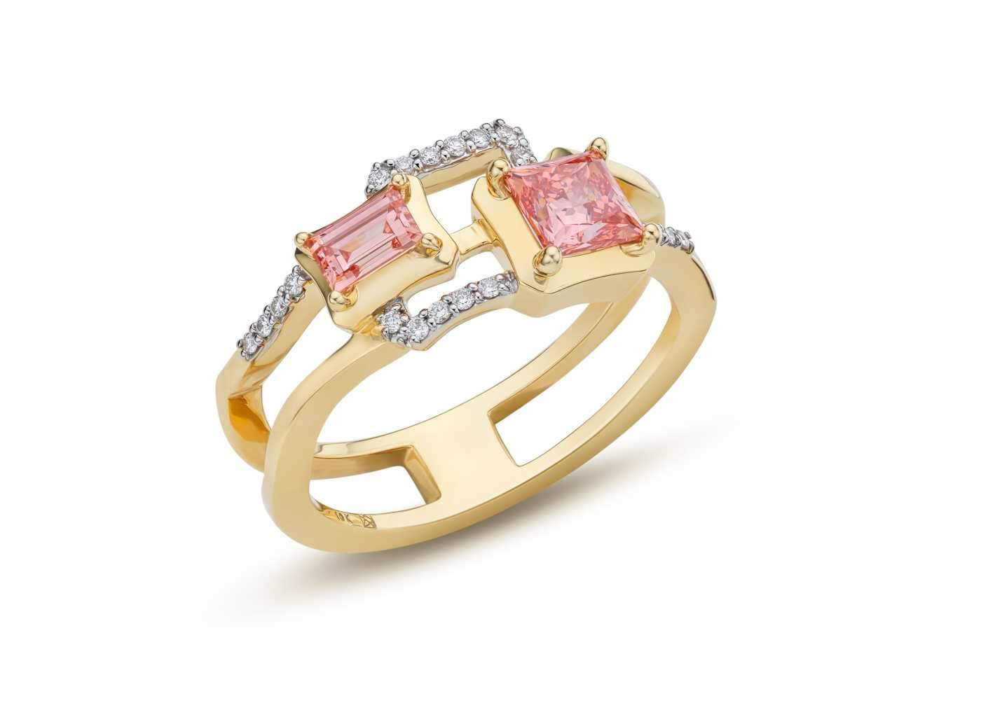 Side view of 2 Stone Frame work Ring with pink and white diamonds