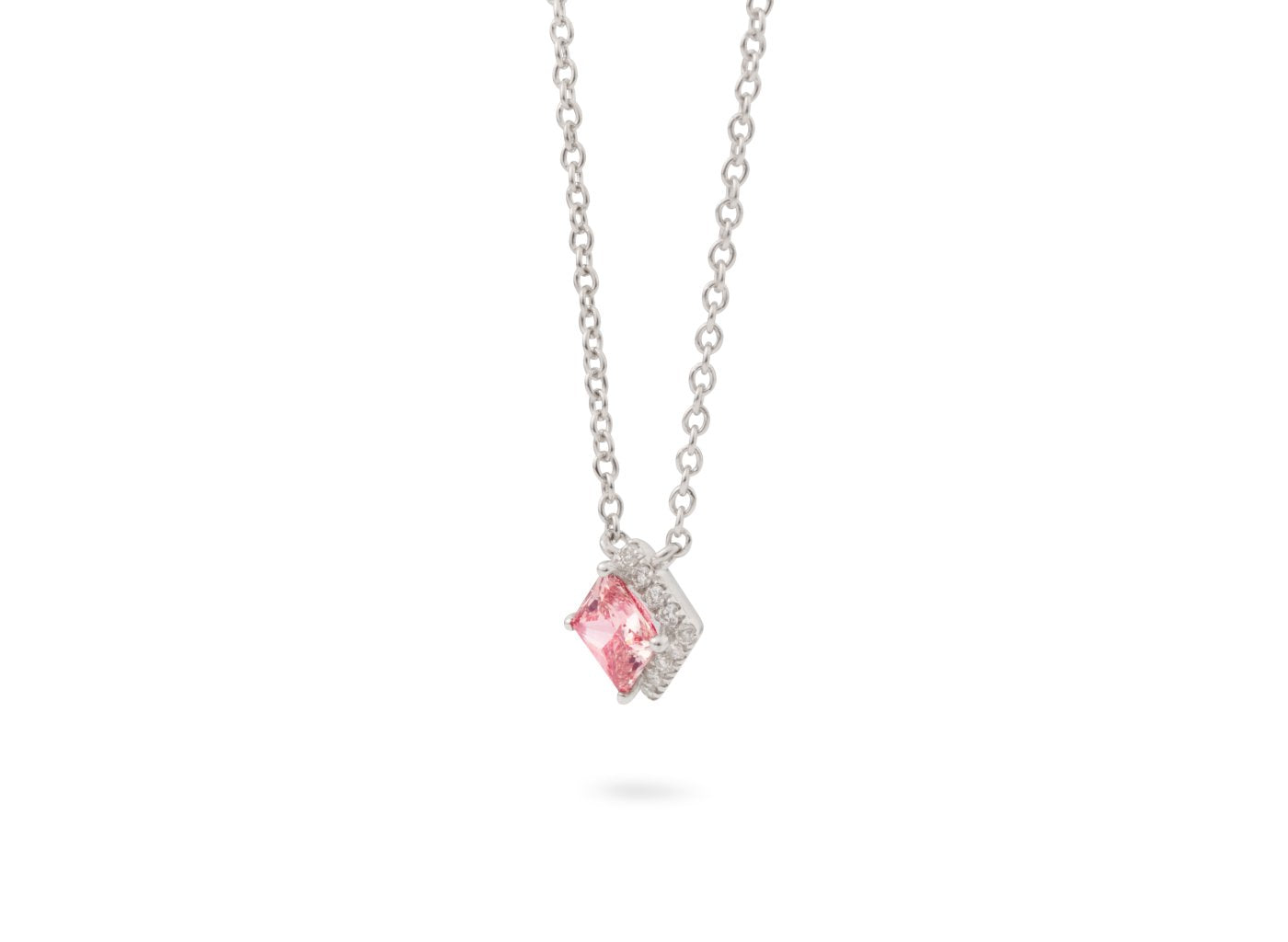 Side view of Princess Halo 1/2 carat pendant with pink and white diamonds