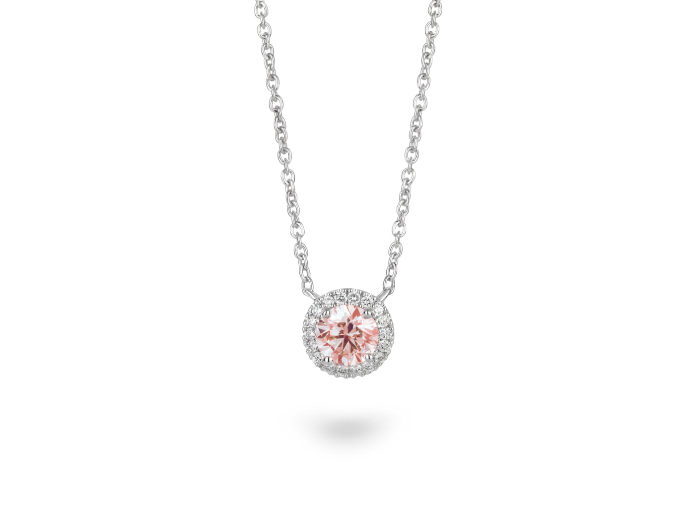 Front view of Halo 3/4 carat pendant with pink and white diamonds