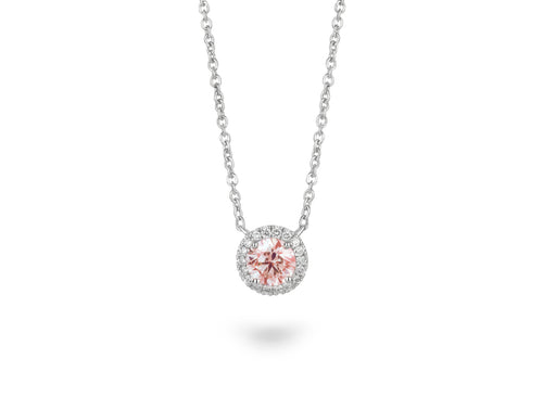 Image: Front view of Halo 3/4 carat pendant with pink and white diamonds