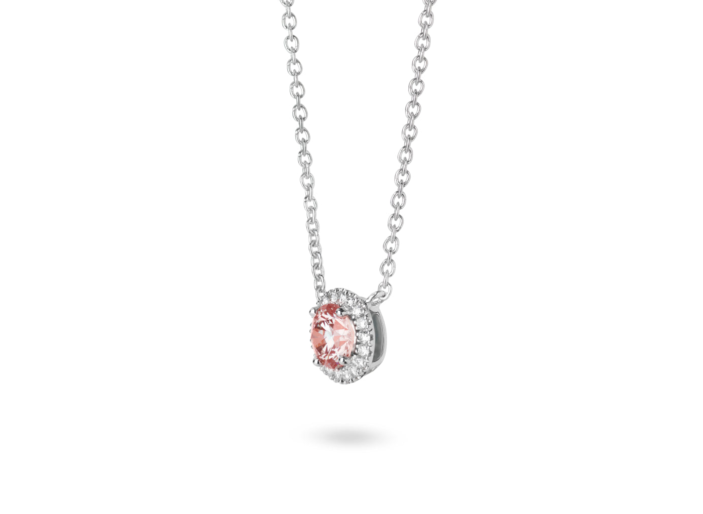 Side view of Halo 3/4 carat pendant with pink and white diamonds