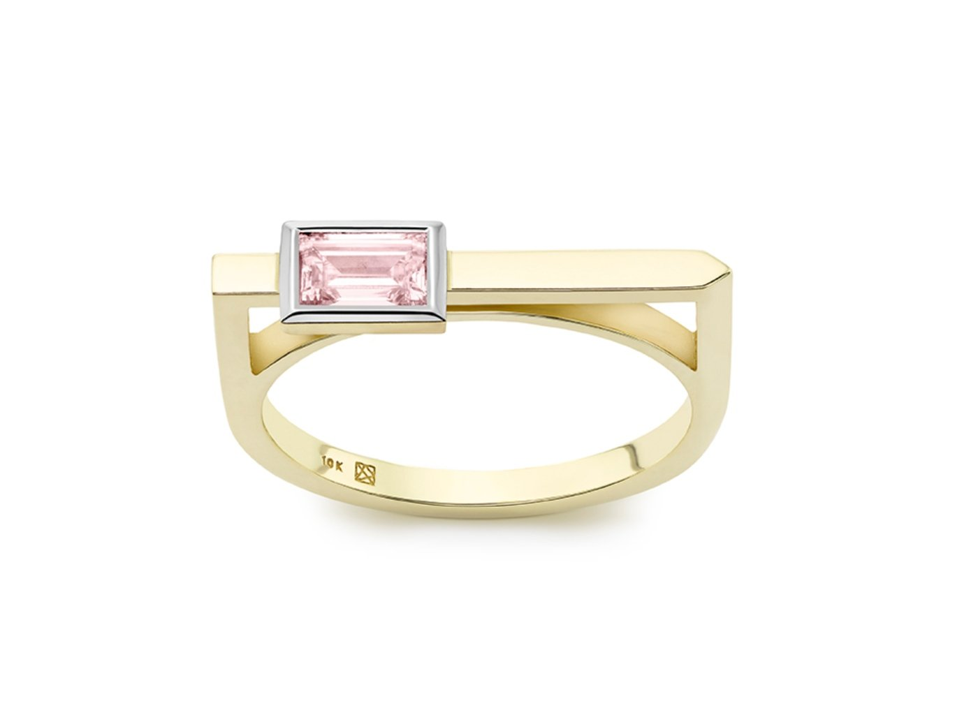 Front view of Baguette linear 3/8 carat ring with pink diamond