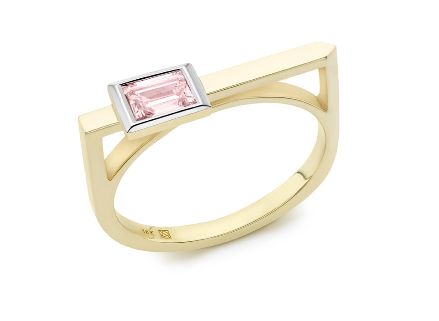 Side view of Baguette linear 3/8 carat ring with pink diamond
