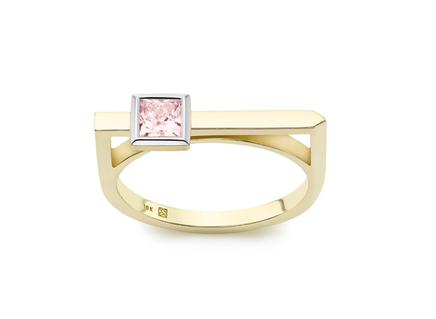 Front view of Princess linear 3/8 carat ring with pink diamond