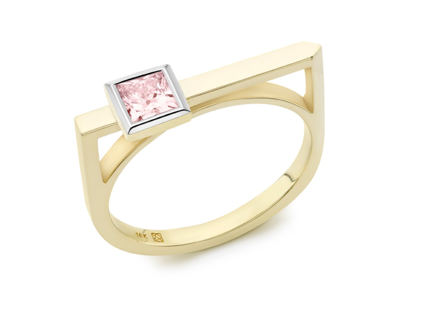 Side view of Princess linear 3/8 carat ring with pink diamond
