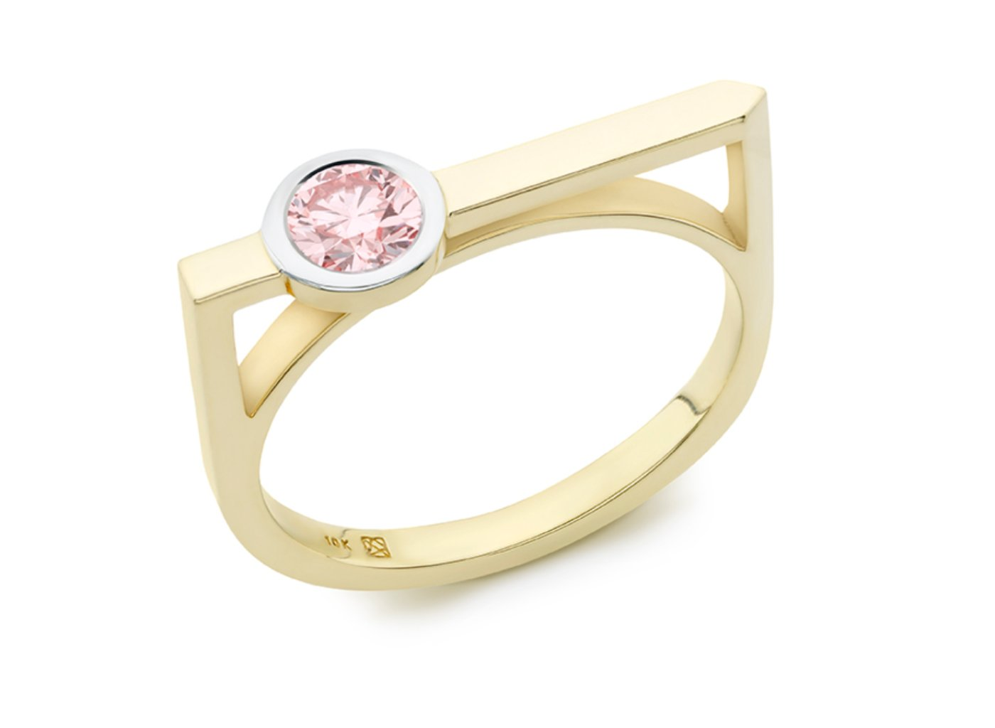 Side view of Solitaire linear 3/8 carat ring with pink diamond