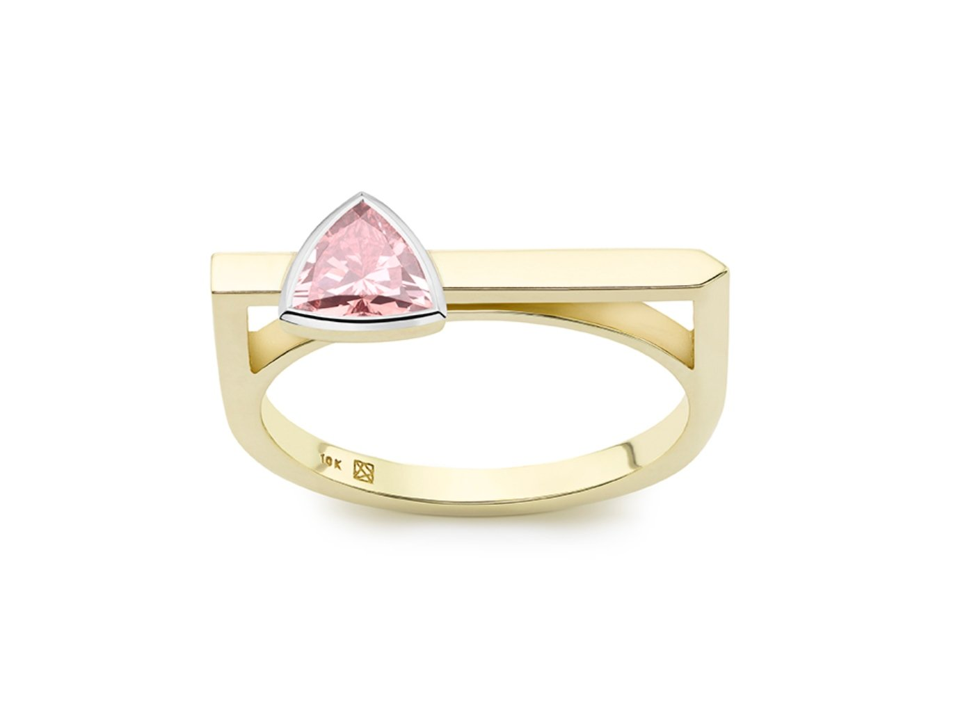 Front view of Trillion linear 3/8 carat ring with pink diamond