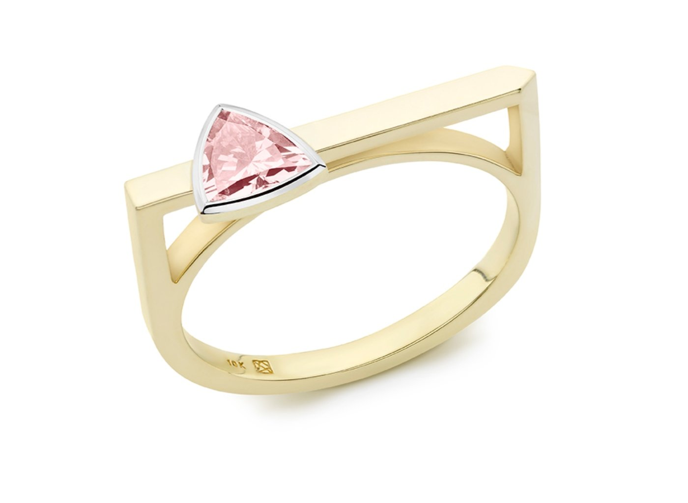 Side view of Trillion linear 3/8 carat ring with pink diamond