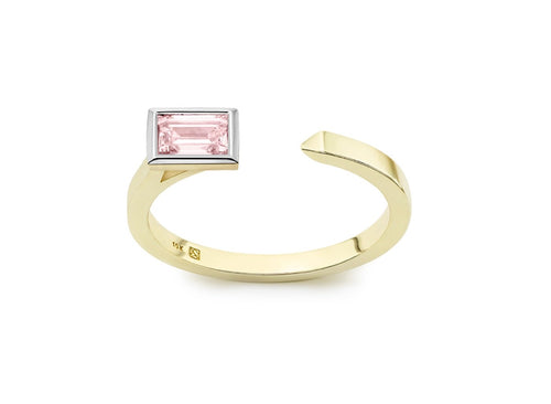 Image: Baguette Open Top Ring in Pink