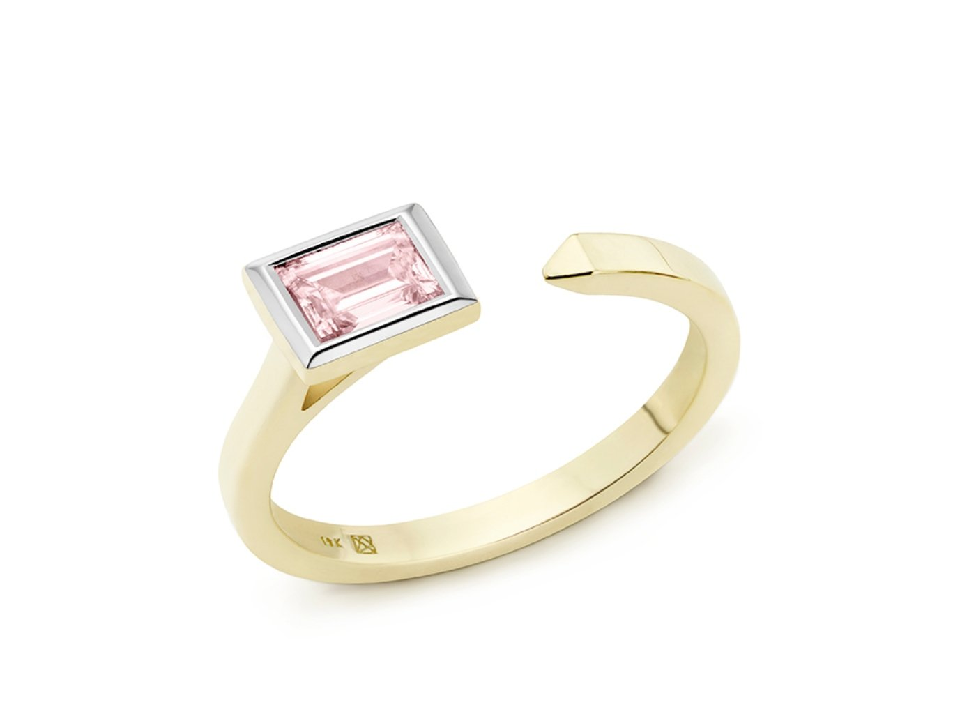 Side view of Baguette open top 3/8 carat ring with pink diamond