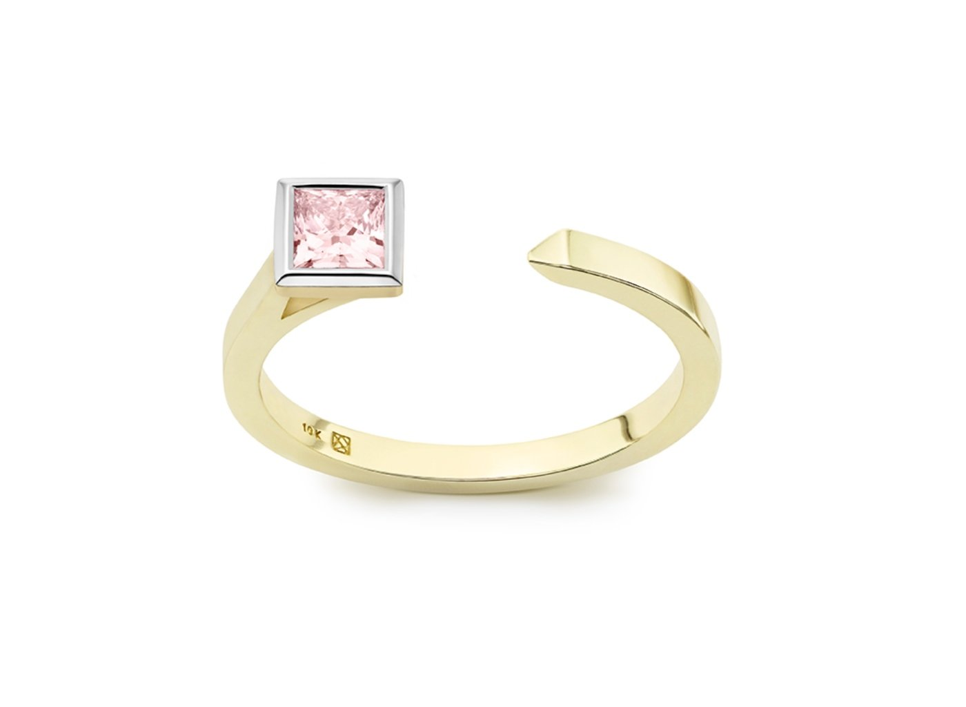 Front view of Princess open top 3/8 carat ring with pink diamond