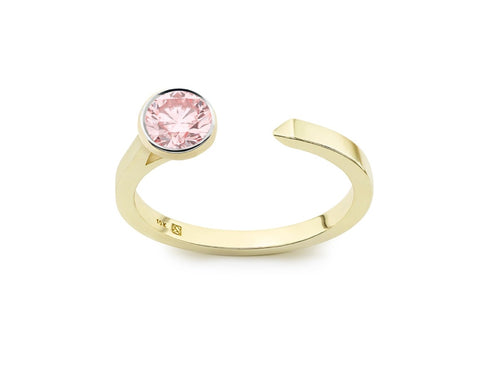 Image: Front view of Solitaire open top 3/8 carat ring with pink diamond