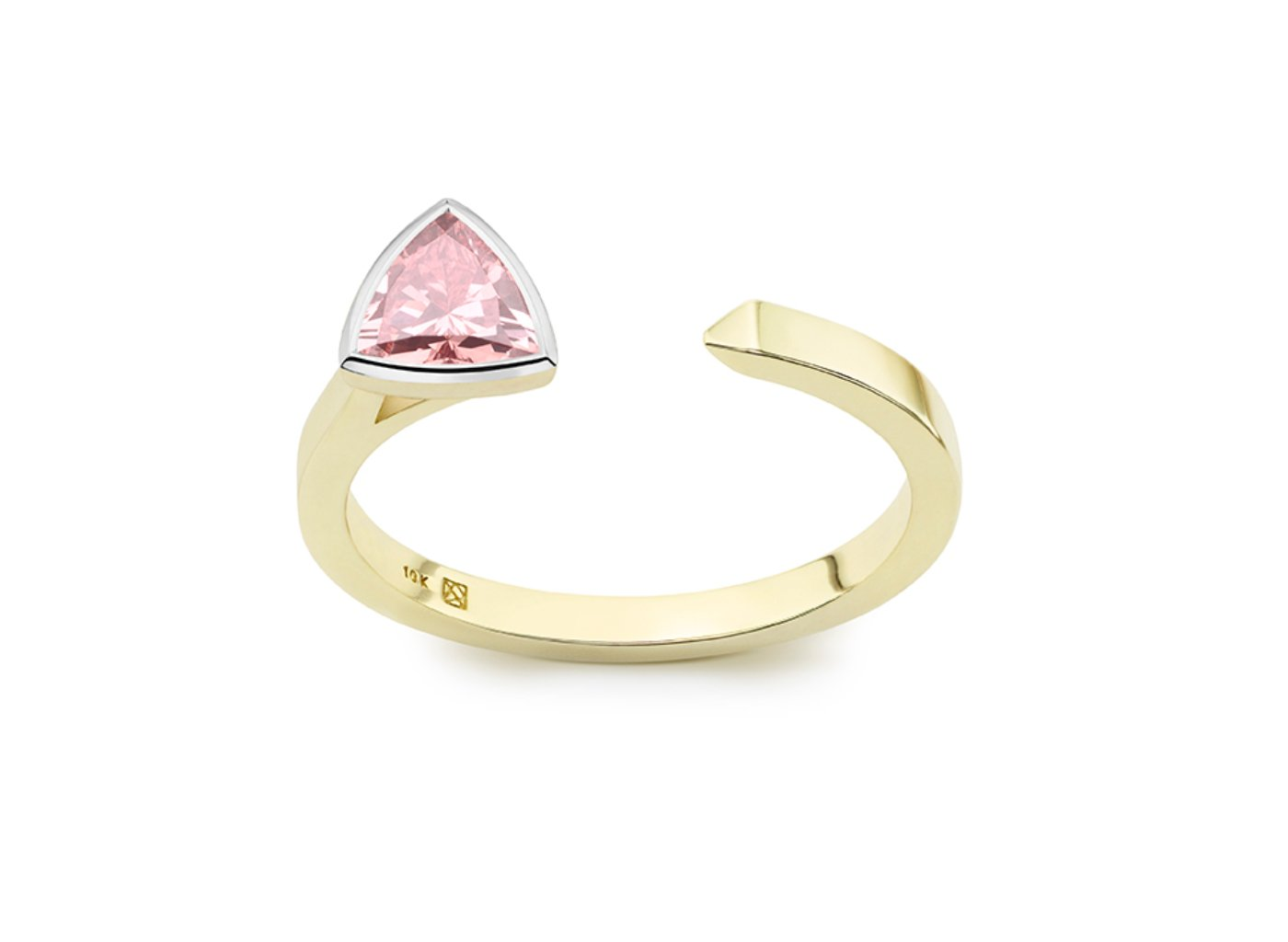 Front view of Trillion open top 3/8 carat ring with pink diamond