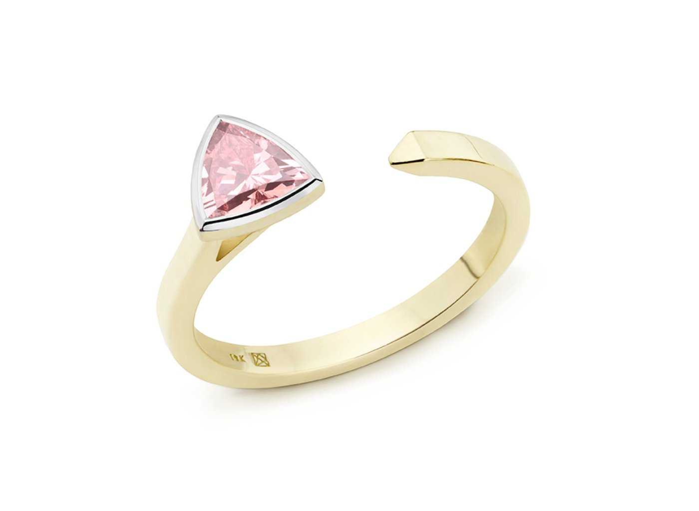 Side view of Trillion open top 3/8 carat ring with pink diamond