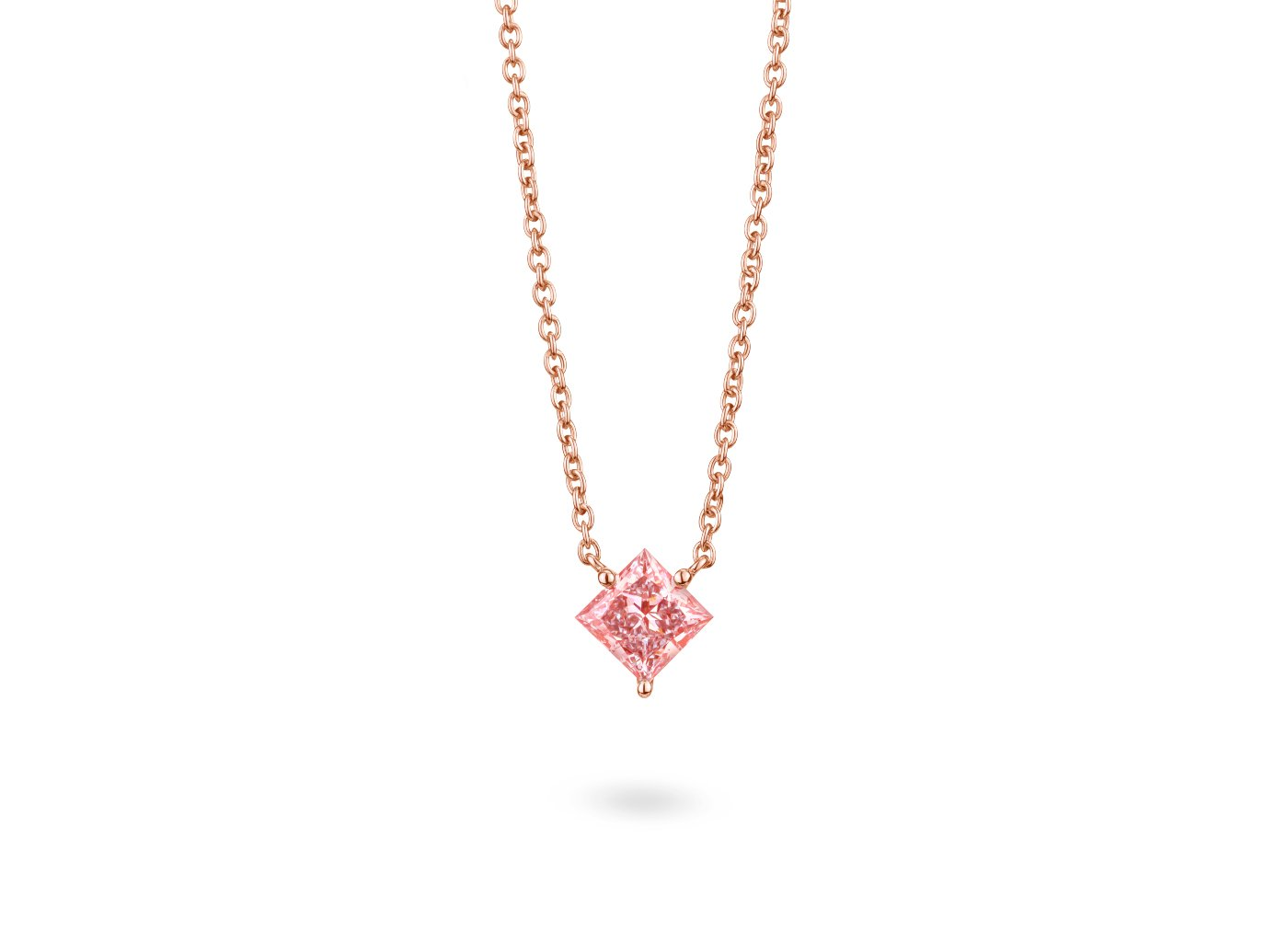 Front view Princess 1-1/8 carat pendant with pink diamond