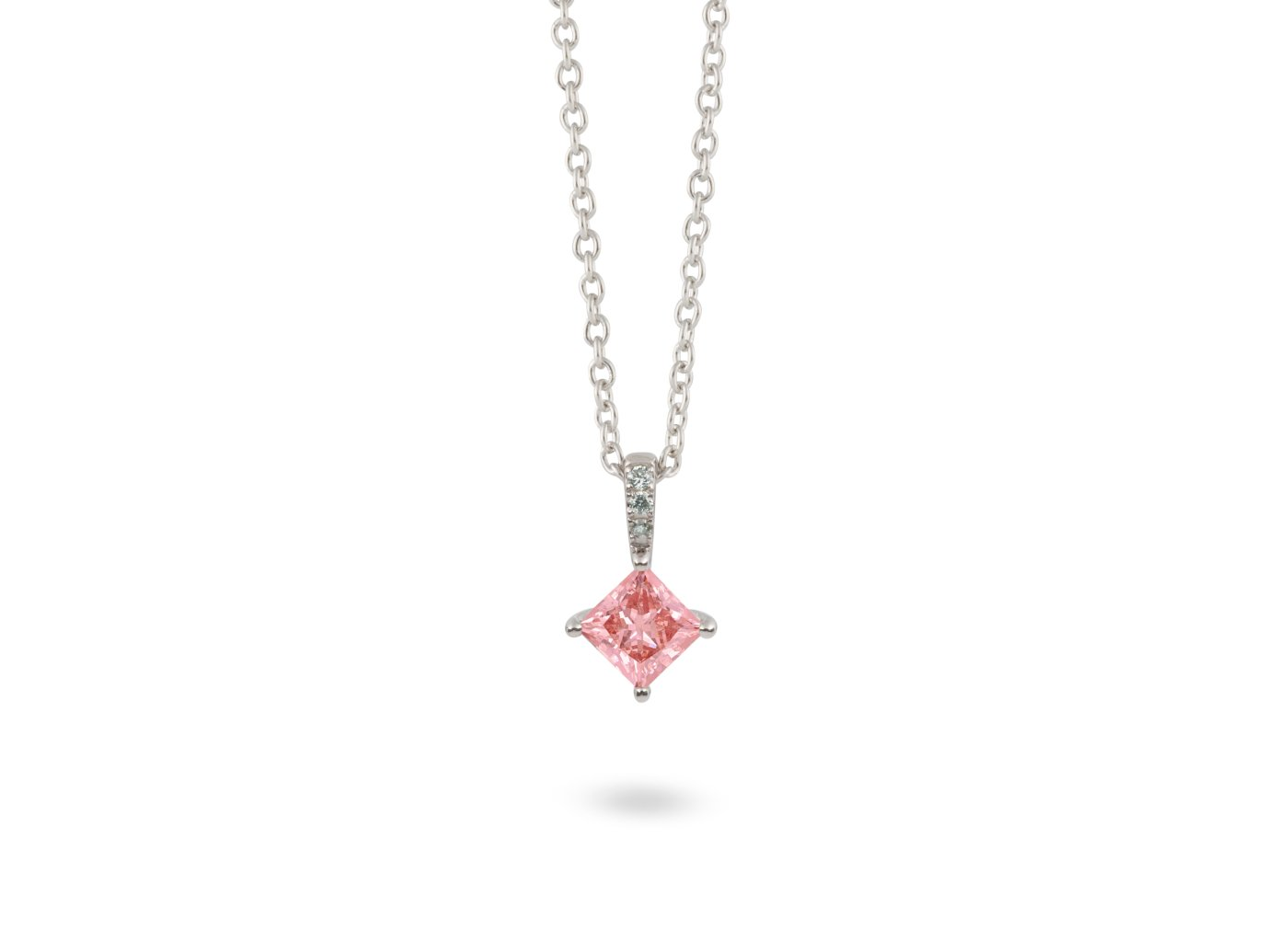 Front view of Princess pavé 1/2 carat pendant with pink and white diamonds