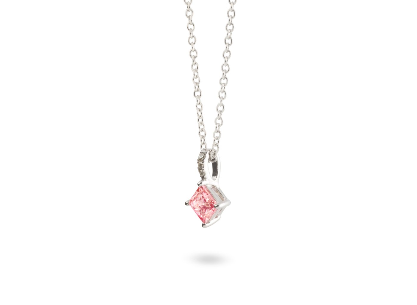 Side view of Princess pavé 1/2 carat pendant with pink and white diamonds