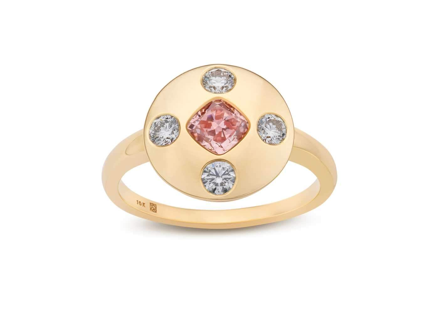 Front view of Muli Stone Signet Ring with pink and white diamonds