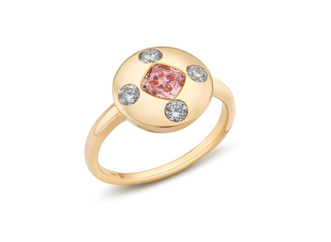 Side view of Muli Stone Signet Ring with pink and white diamonds