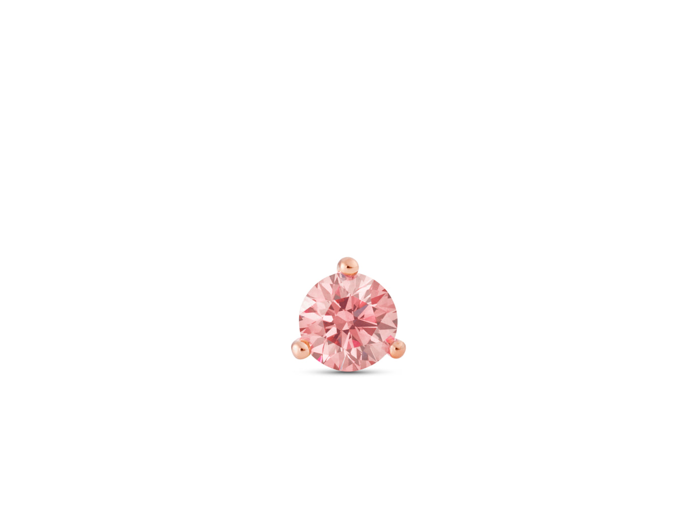 Front view of Solitaire 3/4 carat stud with pink diamond