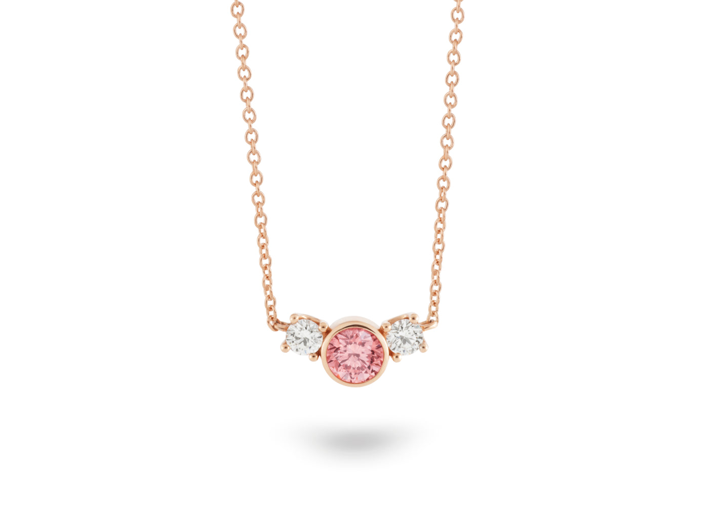 Front view of Three Stone 3/4 carat pendant with pink and white diamonds