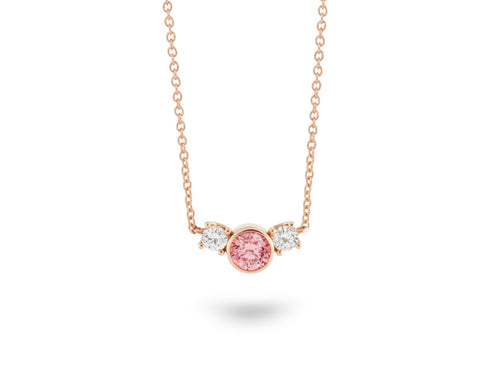 Image: Front view of Three Stone 3/4 carat pendant with pink and white diamonds