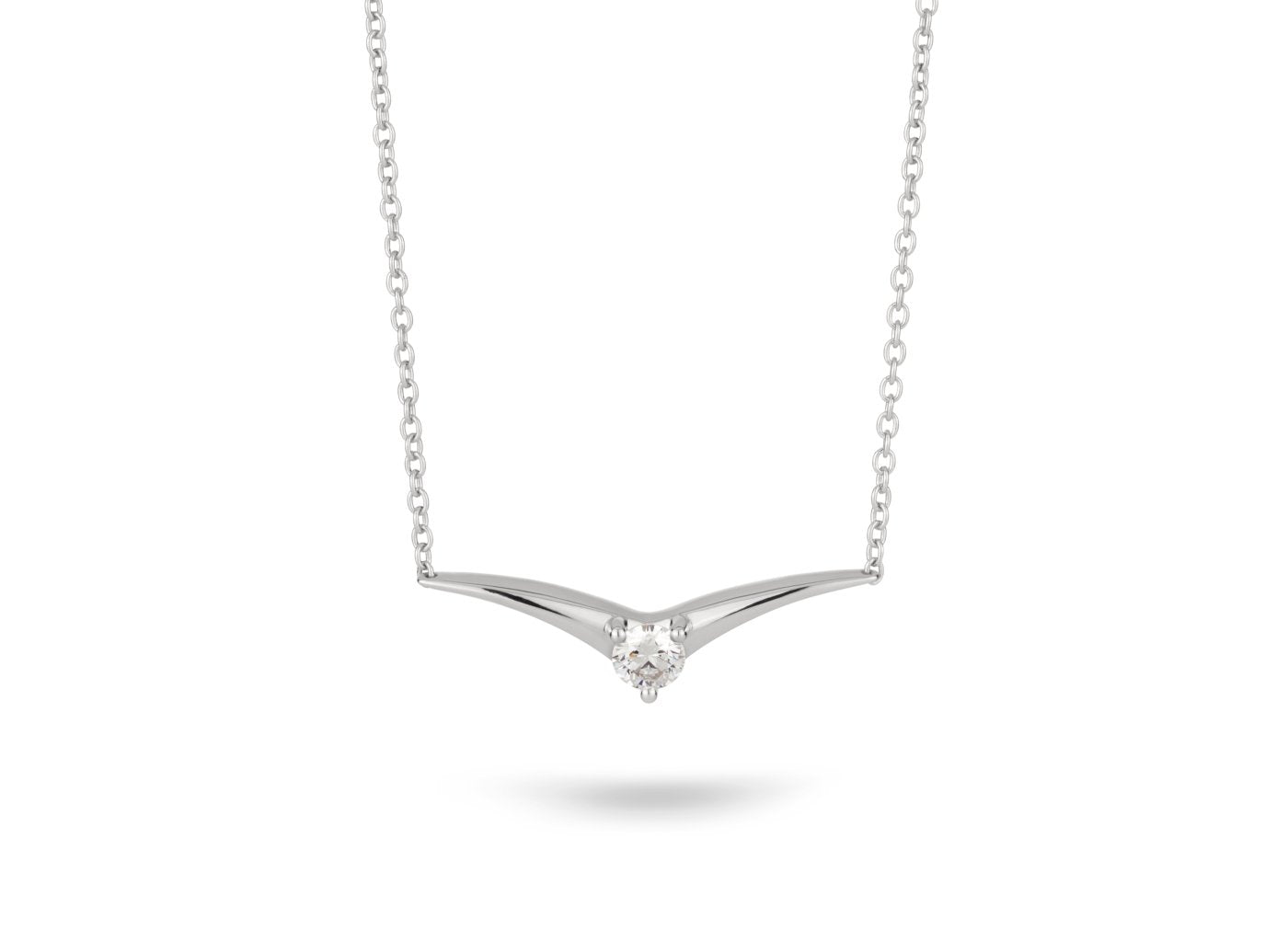 Front view of Chevron 1/4 carat pendant with white diamond