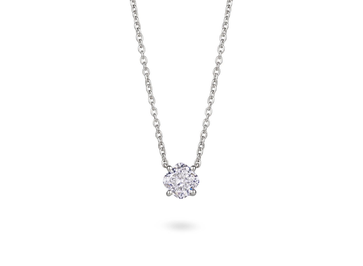 Front view of Cushion 1 carat necklace with a white diamond
