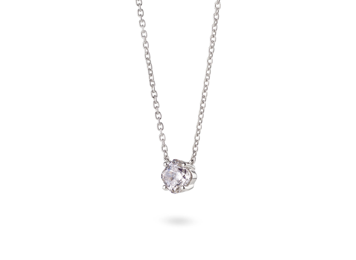 Side view of Cushion 1 carat necklace with a white diamond