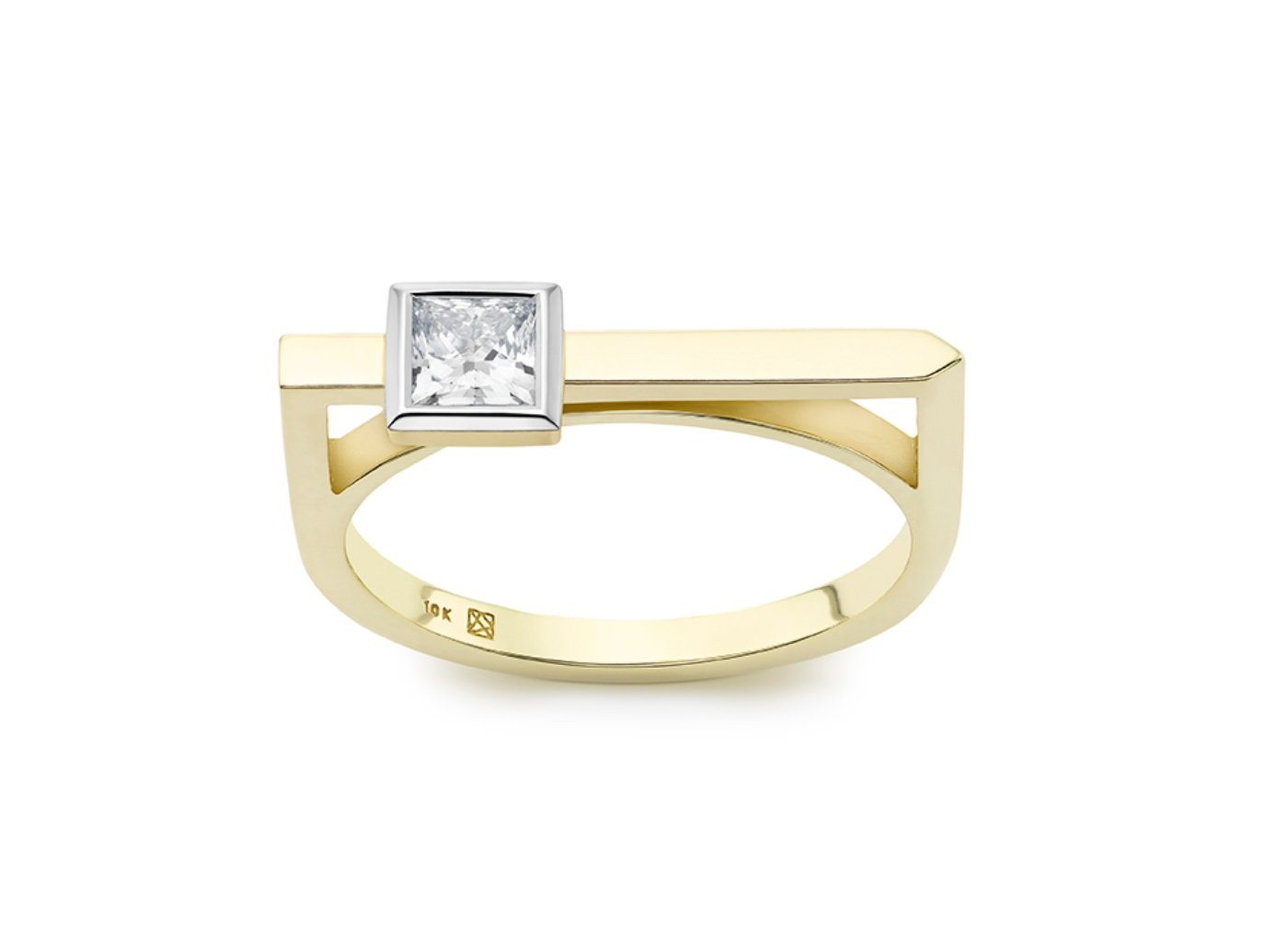 Front view of Princess linear 3/8 carat ring with white diamond
