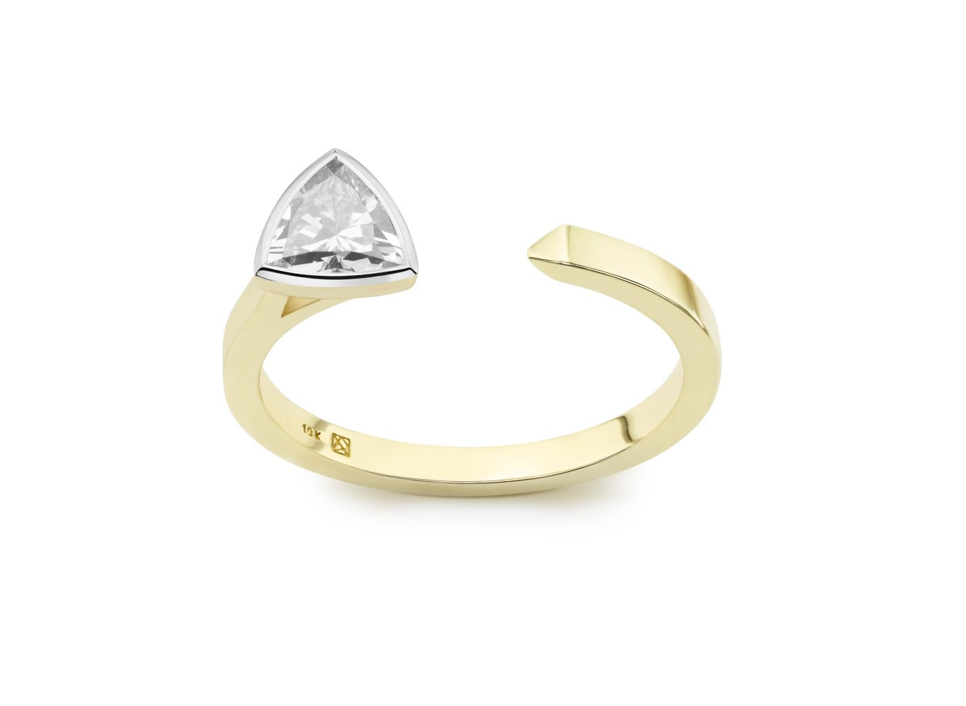 Front view of Trillion open top 3/8 carat ring with white diamond