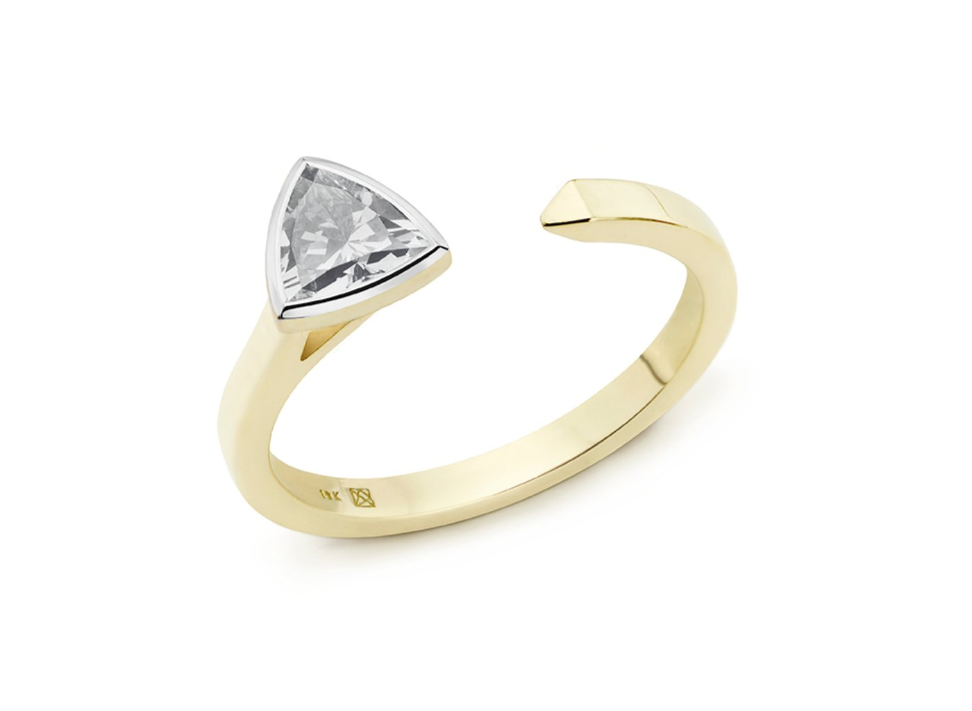 Side view of Trillion open top 3/8 carat ring with white diamond