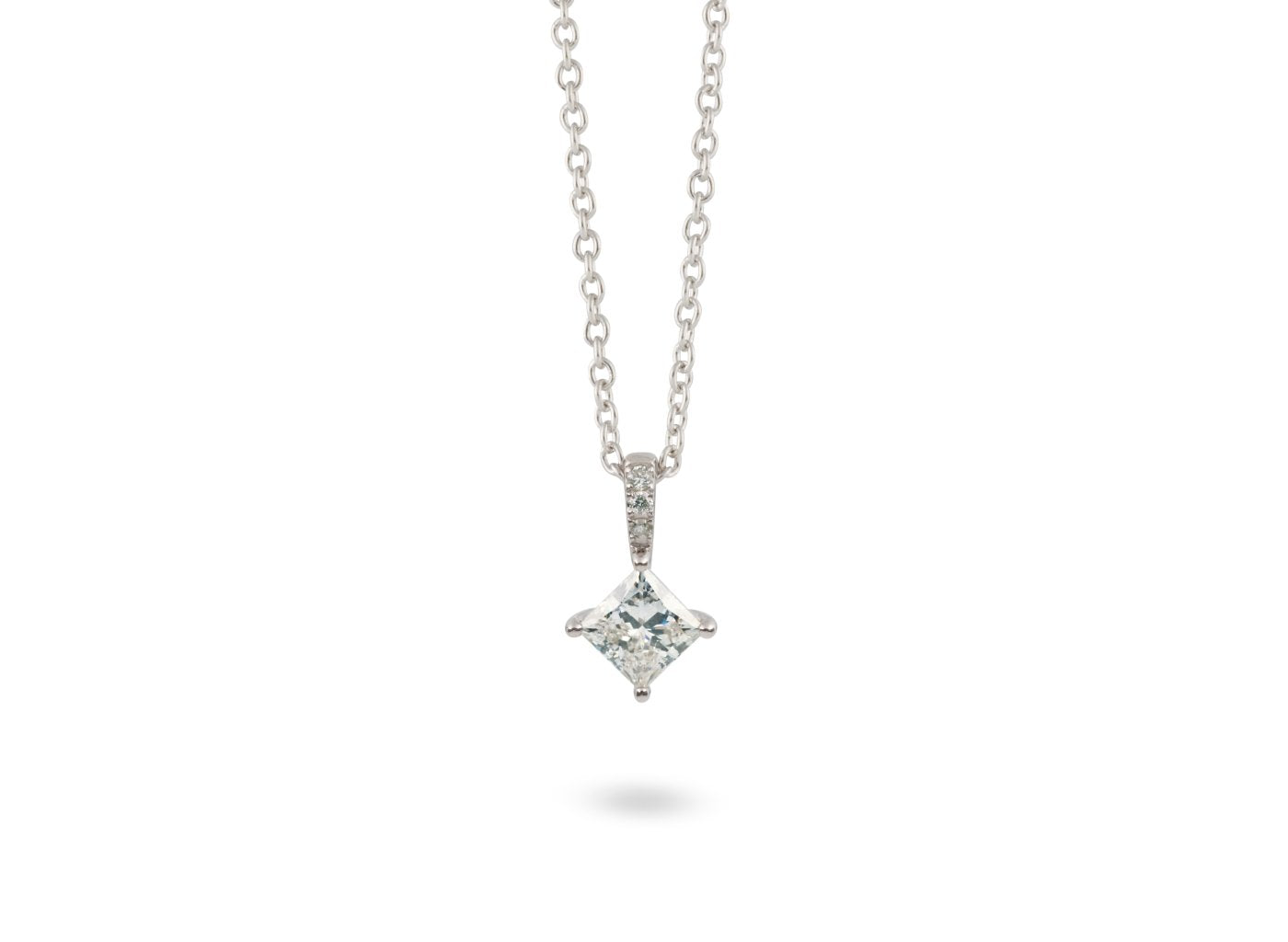 Front view of Princess Pavé 1/2 carat pendant with white diamonds