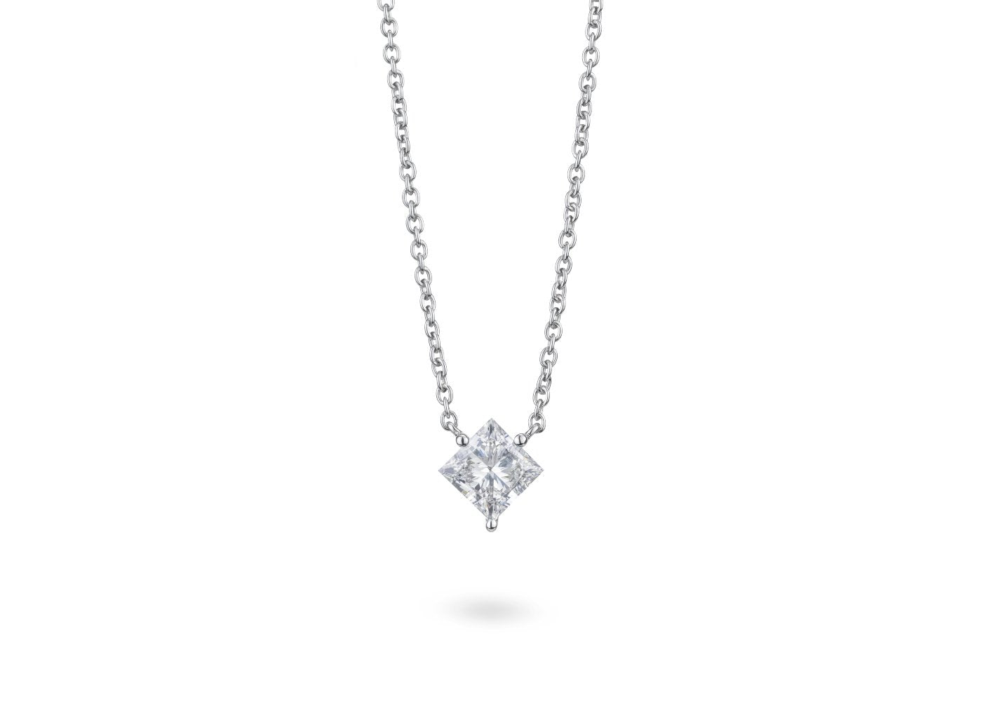 Front view Princess 1-1/8 carat pendant with white diamond