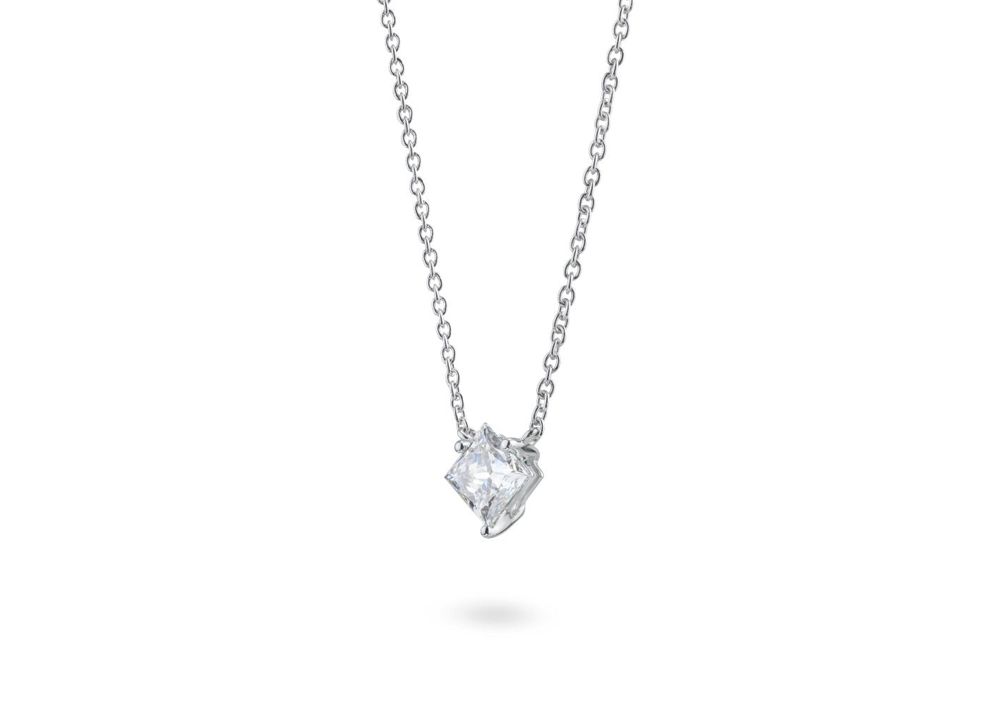 Side view Princess 1-1/8 carat pendant with white diamond