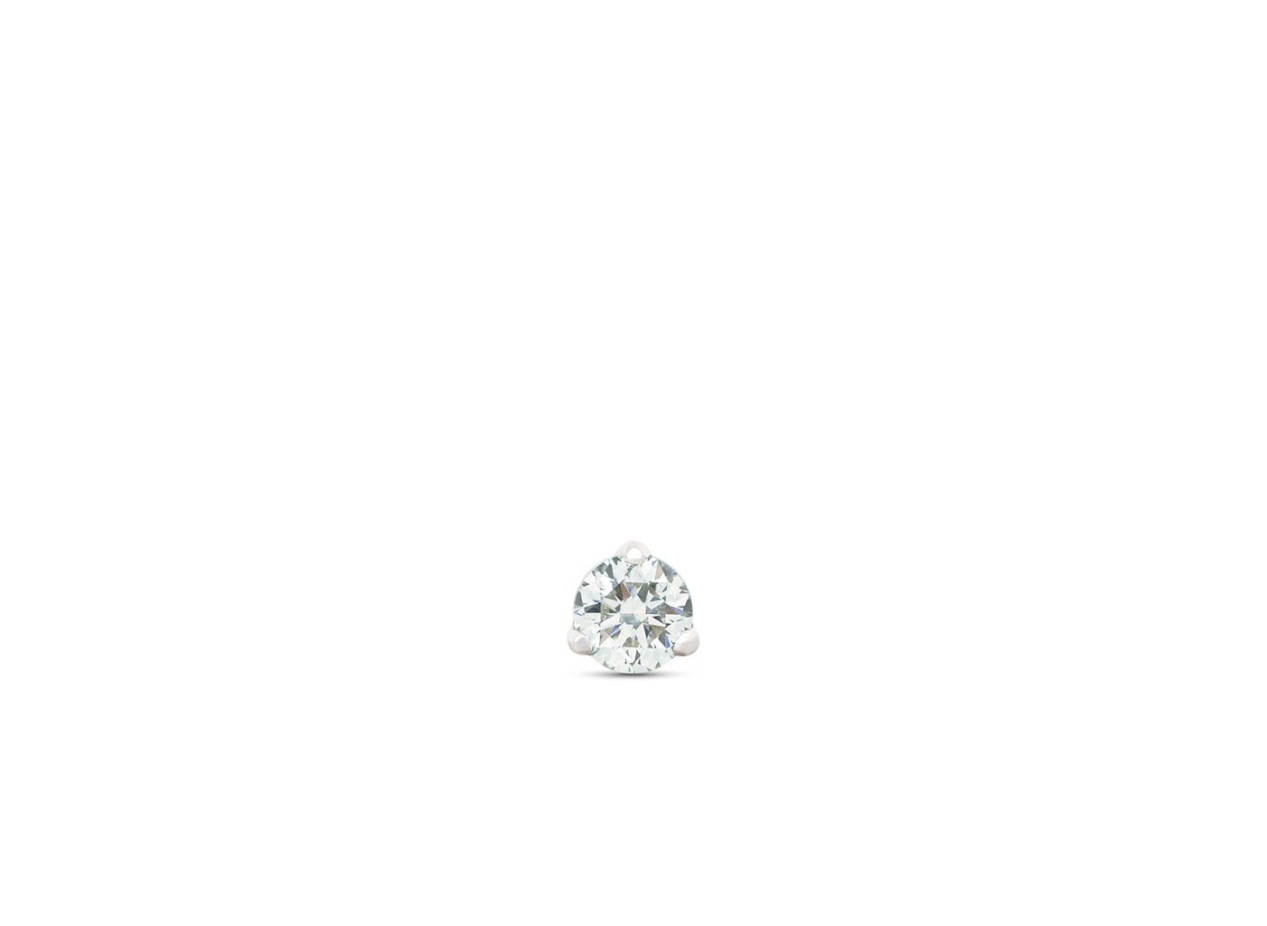 Front view of Solitaire 1/10 carat earring with white diamond