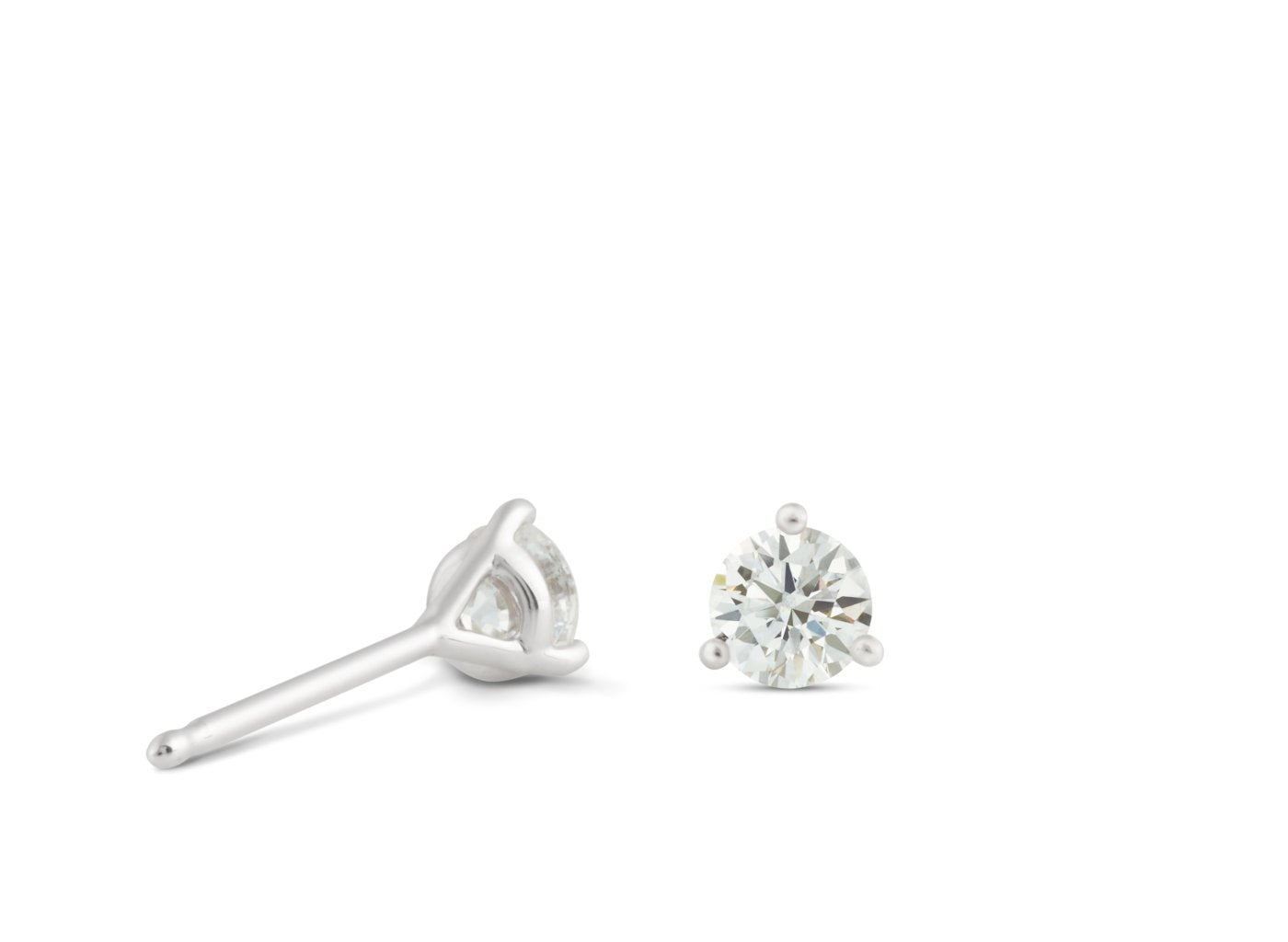 Back view of Solitaire 1/2 carat earrings with white diamonds