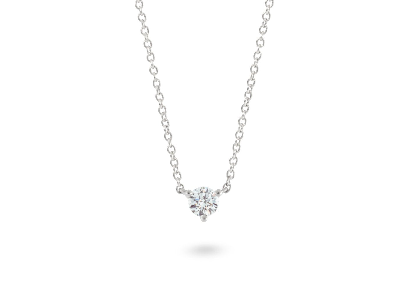 Front view of Solitaire 1/4 carat pendant with white diamond