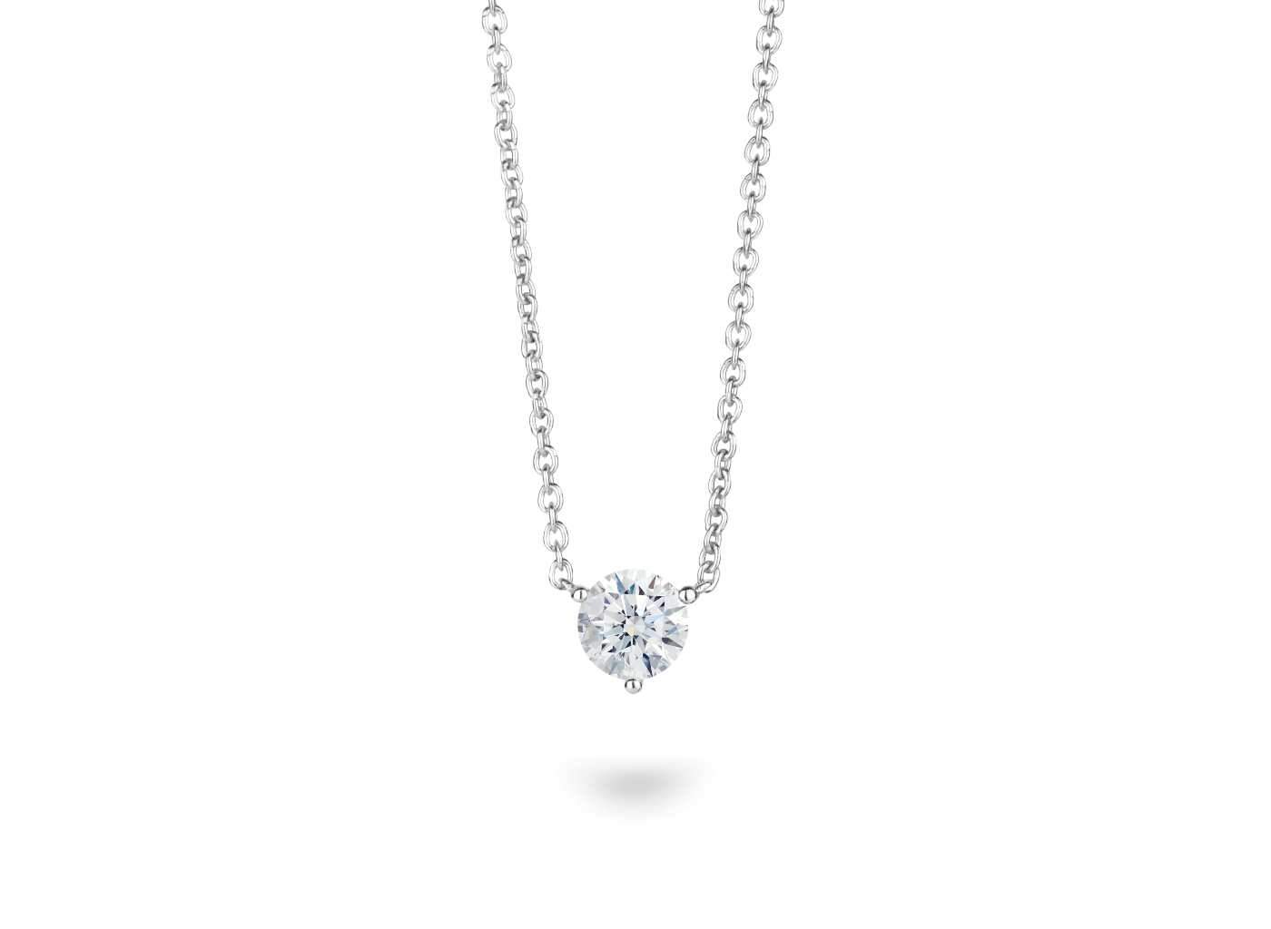 Front view of Solitaire 3/4 carat pendant with white diamond