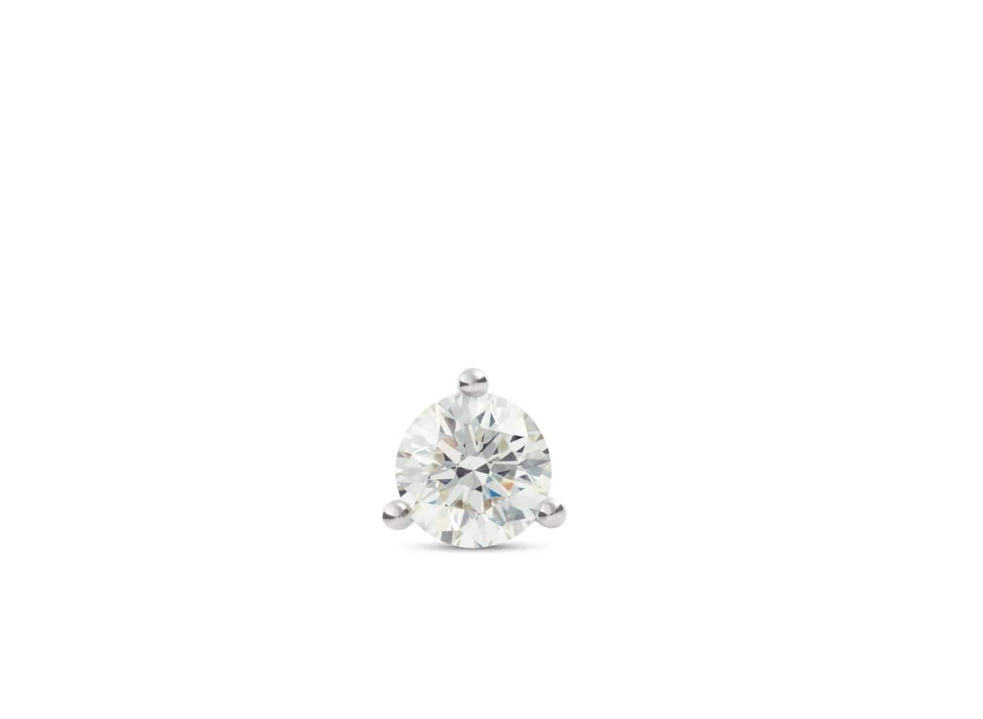 Front view of Solitaire 3/4 carat stud with white diamond