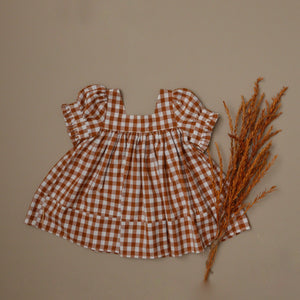 Fiona Tunic, Dress  Gingham Pecan MTO