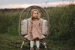 Manda Dress Gingham Pecan MTO