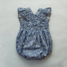 Zaylee Ruffle Rompers Blue White Floral RTS