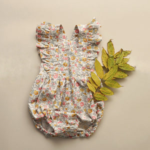 Zaylee Ruffle Rompers Pink/Mustard Floral RTS