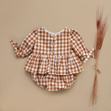 Colette Rompers 3/4 Sleeves Pecan Gingham MTO