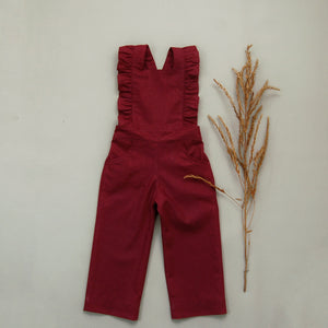 Piper Ruffle Jumpsuit Red Wine MTO